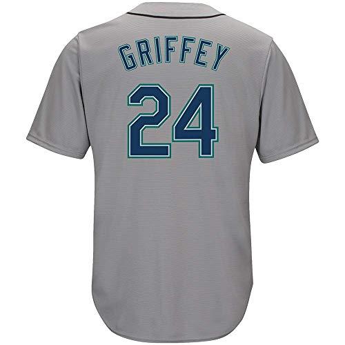 (Men's/Women/Youth_Ken_#24_Griffey_Jr Youth Cool Base Alternate Replica Baseball Jersey-Gray)
