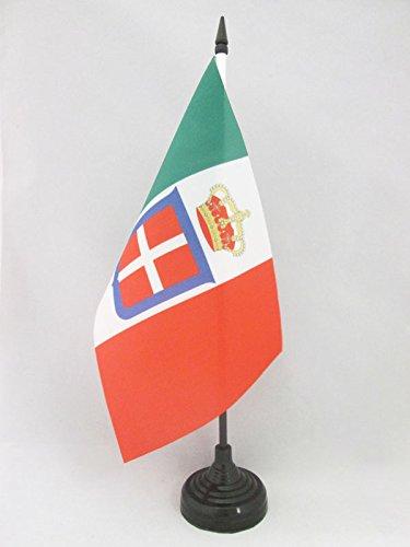 BANDIERA DA TAVOLO REGNO D'ITALIA CORONA 21x14cm - PICCOLA BANDIERINA REALE ITALIANA 14 x 21 cm - AZ FLAG