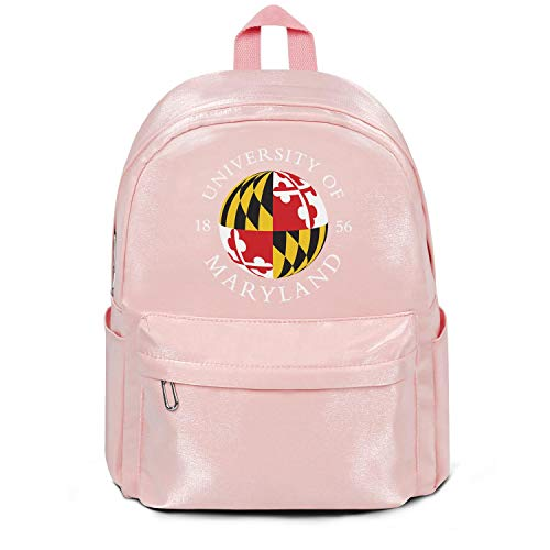 Womens Girl Boys Bag Purse Casual Nylon Water Resistant School Backpack The-University-of-Maryland- Bag Purse Pink