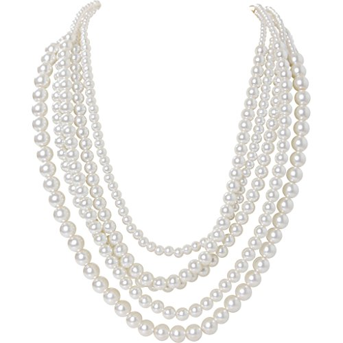 Humble Chic Multistrand Simulated Pearls - Long Layered Statement Necklace, White, Gold-Tone