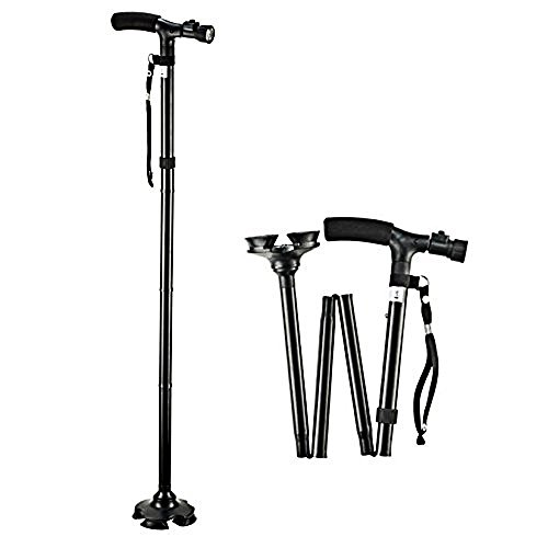 Beyoung LED Cane Walking Stick, Adjustable Height Folding Walking Stick Cane with Pivoting Quad Cane Base Tip for Men and Women
