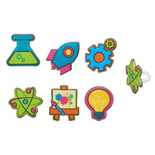 Mad Science STEM Experiment Fun Cupcake Topper Rings - Set of 12