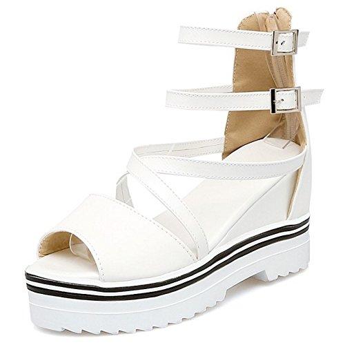 COOLCEPT Mujer Moda Ankle Strap Sandalias Punta Abierta En aumento Zapatos Blanco