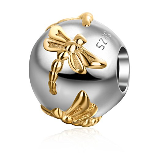 Gold Plated Dragonfly Charms Authentic 925 Sterling Silver Insect Round Charm for European Bracelet ()