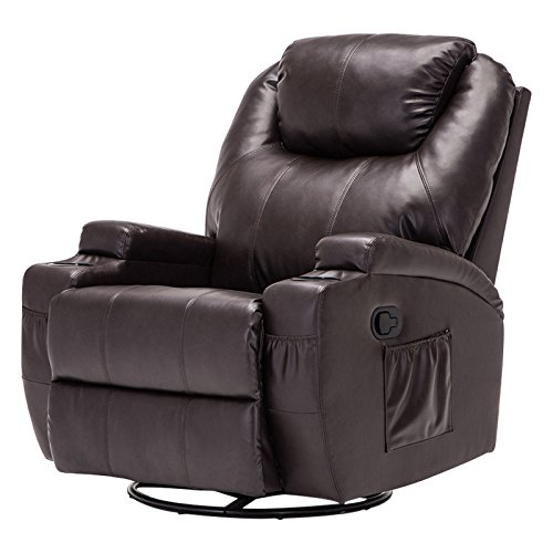 Mecor Massage Recliner Chair Bonded Leather Heated Recling Living Room Lounge Sofa Chair w/Cup Holder/Remote (Brown)