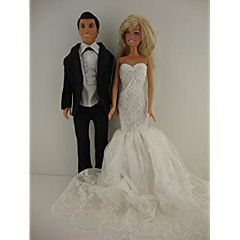 c0c31535d7 Set of 2 an Elegant Bright White Wedding Gown with Veil and a Black Tux  Made for Ken Made to Fit Barbie Doll