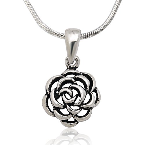 925 Oxidized Sterling Silver Cut-Out Rose Pendant on Alloy Necklace Chain, 16 - Rose Cut Out Pendant