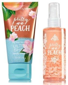 Bath and Body Works Pretty As A Peach Travel Size Ultra Shea Body Cream 2.5 Oz and Body Mist 3 Oz