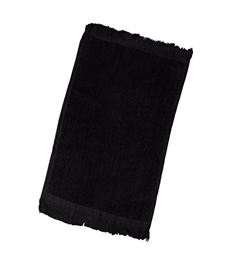 Terry Velour Fingertip Towel with Fringed Ends (6, Black) by Georgiabags