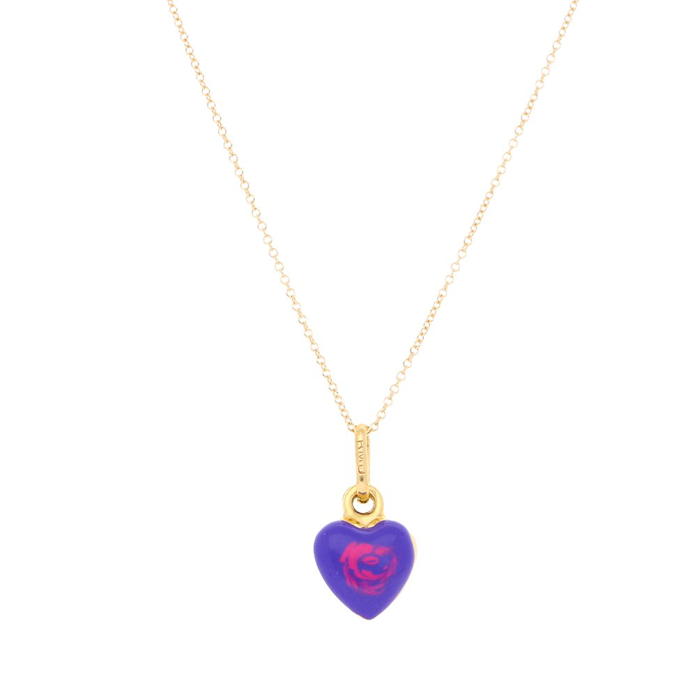 14k Yellow Gold Purple Enamel Heart Pendant 1mm Cable Link Chain Necklace 16-18