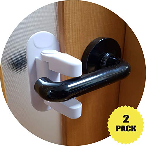 TOVIMO Door Lever Lock (2pack) Baby Safety, Child/Pet Proof Doors & Handles, Toddler Door Handle Lock, 3M Adhesive/ABS (White) for Kitchen, Bathroom, Bedroom, Front Gate, Off-Limit Room, No Drill