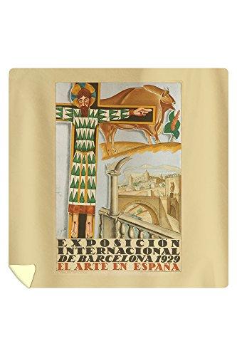 Exposicion Internacional - Barcelona Vintage Poster (artist: Gali) Spain c. 1929 (88x88 Queen Microfiber Duvet Cover) by Lantern Press