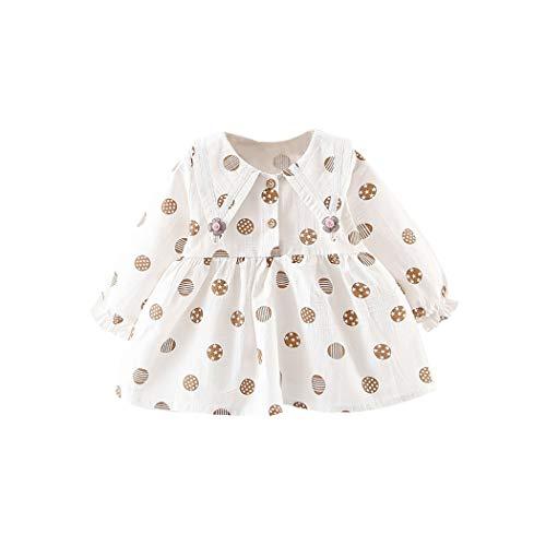 Toddler Long Sleeve Floral Flower Print Dress Costume Children's Clothing for Girls Kids Dresses,White,6M
