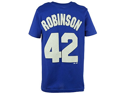 Majestic Jackie Robinson Brooklyn Dodgers Blue Youth Name and Number Jersey T-Shirt Small 8 -