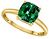 AFFY Cushion-Cut Simulated Green Emerald Solitaire Ring In 14k Gold Over Sterling Silver (2.5 Ct)
