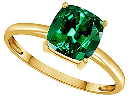 AFFY Cushion-Cut Simulated Green Emerald Solitaire Ring In 14k Gold Over Sterling Silver (2.5 Ct) (Emerald Solitaire)