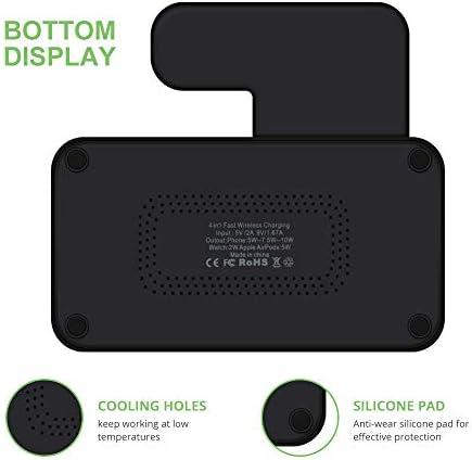 ワイヤレス充電器は、高速充電ステーション1チー認定10Wで、4スタンド、互換性のあるアップルウォッチ/Airpods / iPhone用11 / 11Pro / 11Pro最大/ X/XS/XR/のX最大/ 8月8日プラス/ギャラクシーS10 / S10プラス/注意,黒