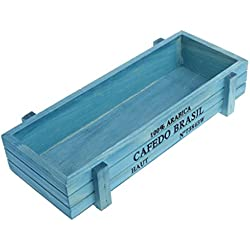 HighflyGao Vintage Wooden Rectangular Succulent Plant Planter Flower Pot Box Container Window Bed Pot For Office Home Sundries Drawer Organizer (Blue)