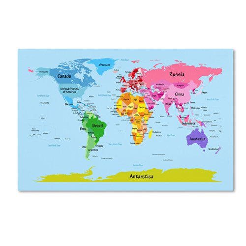 World Map for Kids Artwork by Michael Tompsett, 35 by 47-Inch Canvas Wall Art