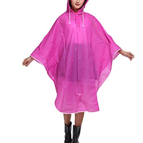 Zhhlaixing Bike Portable Solid color Fashion Waterproof Raincoat Cape Poncho Pink