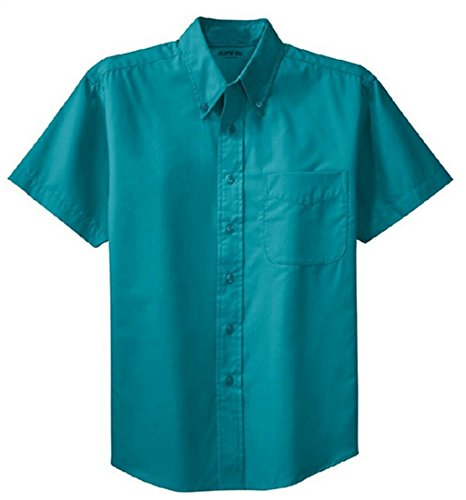Clothe Co. Mens Short Sleeve Wrinkle Resistant Easy Care Button Up Shirt, Teal Green, 2XL ()