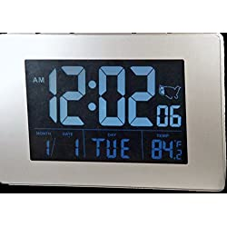 Sonnet Atomic Desk/Bedroom Alarm Clock Black 1.75 Display with White LCD Numbers