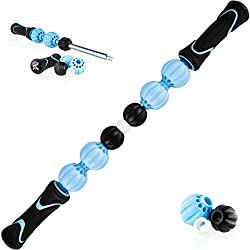 Chameleon Changeable Massage Stick Muscle Roller - Adjust the Rollers to your unique legs, calf, foot, or back muscles! Cramp, soreness, tension relief. (Blue)