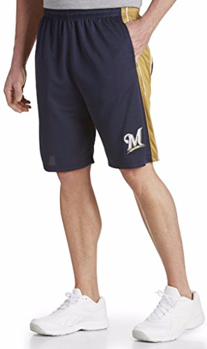 Majestic Milwaukee Brewers MLB Mens Performance Shorts Navy Big & Tall Sizes (3XT)