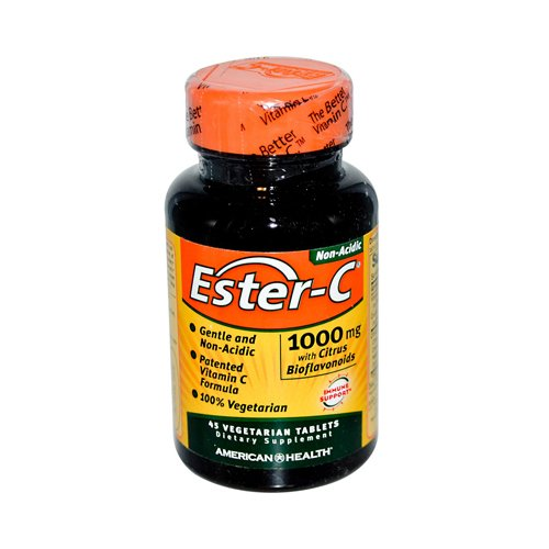 New - American Health Ester-C with Citrus Bioflavonoids - 1000 mg - 45 Vegetarian Tablets (45 Vitamin C Ester Tabs)