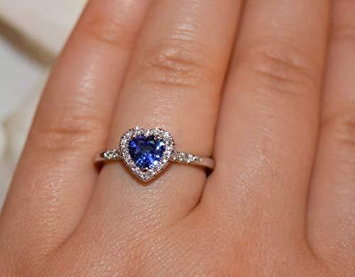 Diamond Engagement Ring, Blue Sapphire Wedding Ring, 18k white gold Heart Shape Diamond Rings, Natural Blue Sapphire Ring, Engagement ring ()