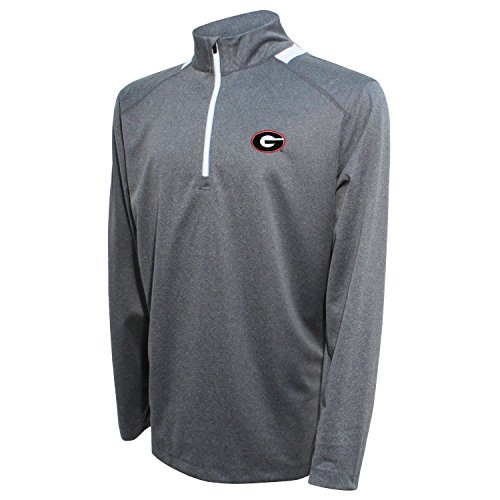 Red Bulldog - Crable NCAA Men's Quarter Zip with Team Neck Panel,Georgia Bulldogs,Heather Gray/Red,XX-Large