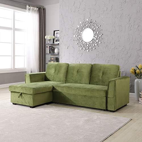 Legend Furniture Velvet Chaise Storage Reversible Sofa Bed Sleeper Sectional - the best living room sofa for the money