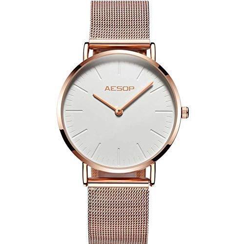 Aesop Women Watches Brand Ultra Thin Watches Rose Gold Ladies Watch Quartz Female Wrist Watch Stainless Steel Water Resistant Watch for Girls