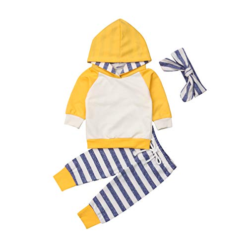 Baby Boys Girls Clothes Long Sleeve Hoodie Tops Sweatsuit Pants Headband Outfits Set 0-24 Months (18-24 Months, Yellow)
