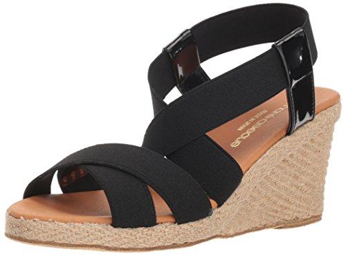 Andre Assous Women's DALMIRA Espadrille Wedge Sandal, Black, 10 M - Black Espadrilles Patent