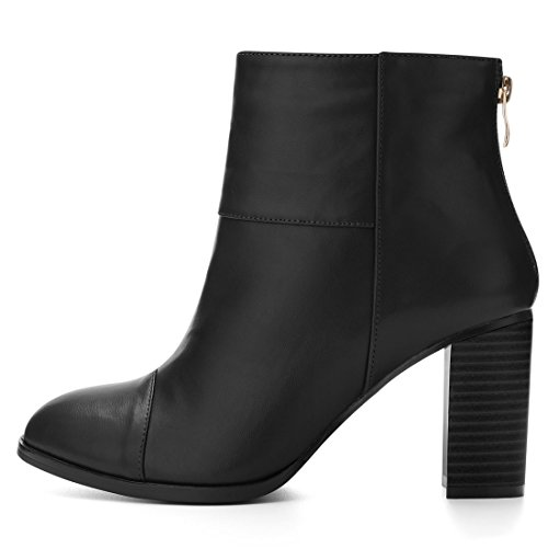 Zipper Ankle Block K Round Boots Women's Black Heel Allegra Toe YA6xqFwxT