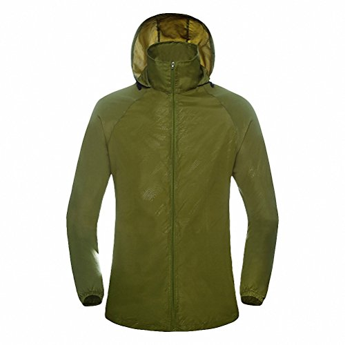 Maoko Sports Outdoor Running Windbreaker Jacket with Hood- Lightweight Sun UV Protection Armygreen