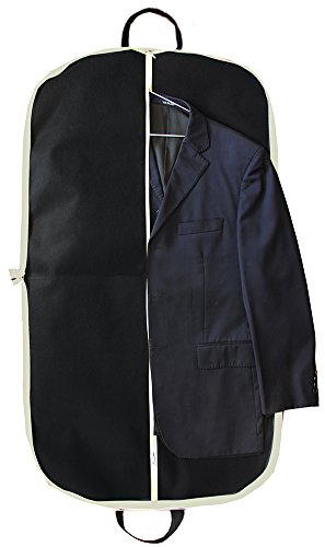 MISSLO Suit Garment Bag for Travel 42'' Zippered Clothes Cover (3 Packs, Black) by MISSLO (Image #2)