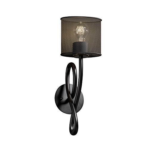 Justice Design Group MSH-8911-30-MBLK Wire Mesh Capellini 1-Light Wall Sconce, 18-Inch by 5-Inch by 8.25-Inch, Matte Black - Capellini Matte