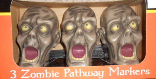 Halloween 3 Zombies Pathway Marker Sensor Activated Bright Strobe Type Lights and Creepy Sounds