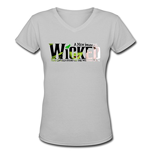 Costume Broadway Seattle (AOPO Wicked Broadway Musical Play V-Neck Short Sleeve Tee Shirts For Women Large)