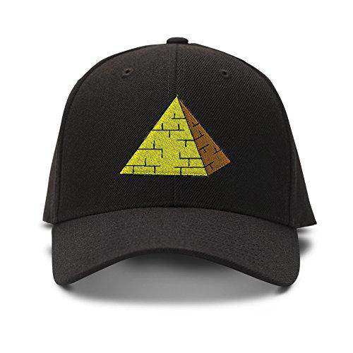 Pyramid Embroidery Adjustable Structured Baseball Hat Black - Black Pyramid Shape