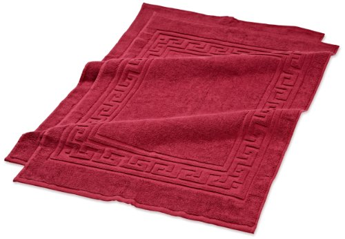 Superior Hotel & Spa Quality Bath Mat Set of 2, Made of 100% Premium Long-Staple Combed Cotton, Durable and Washable Bathroom Mat 2-Pack - Burgundy, 22