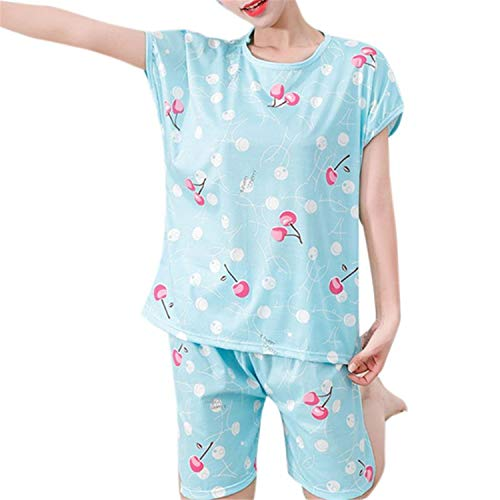 Zcxss Fashion Round Neck Women Cute Sweet Girls Summer Short Sleeve Cartoon Plus Size 24 Styles Milk Fiber Sleepwear R L]()