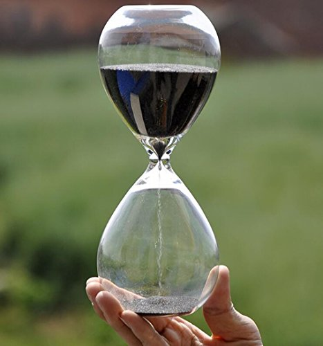 Large Fashion Black Sand Glass Sandglass Hourglass Timer Clear Smooth Glass Measures Home Desk Decor Xmas Birthday Gift (5 Minutes) by Winterworm (Image #3)