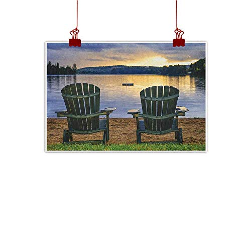 (Anyangeight Outdoor Nature Inspiration Poster Wilderness Seaside,Two Wooden Chairs on Relaxing Lakeside at Sunset Algonquin Provincial Park Canada, Navy Green 36