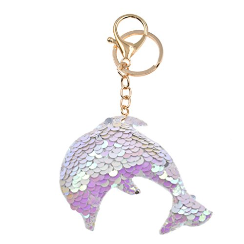 Lychee Cute Shiny Unicorn Dolphin Owl Keychain Sequins Animal Keyrings Key Chain Gifts (Dolphin Chain)