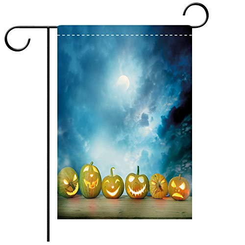 Custom Personalized Garden flag Outdoor flag Halloween Spooky Halloween Pumpkins on Wood Table Dramatic Night Sky Print Decorative Dark Blue Light Blue Best for Party Yard and Home Outdoor Decor ()
