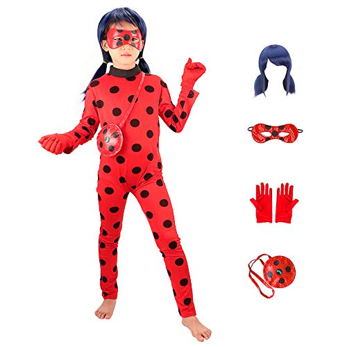 Ladybug Girls Costume Cosplay Jumpsuit for Halloween Birthday Party Set 5pcs/Bag Red]()