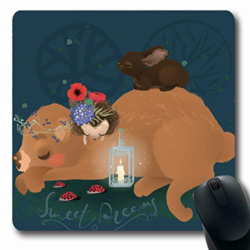Ahawoso Mousepad Oblong 7.9x9.8 Inches Baby Cute Woodland Dreaming Bear Rustic Floral Bouquet Candle Character Design Hedgehog Office Computer Laptop Notebook Mouse Pad,Non-Slip Rubber]()